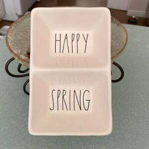 Rae Dunn HAPPY SPRING Divided Tray Candy Dish Serving By Magenta Artisan