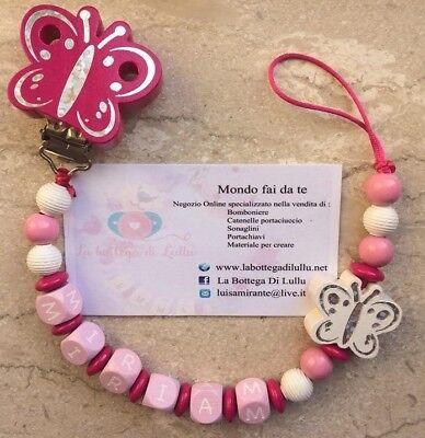 Scatolina PortaSucchietto Portaciuccio Neonato Personalizzabile con Nome Bambino Bambina Vari Colori Disponibili Personalizzato rosa