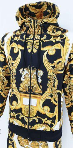 Men TiM Tracksuit Baroque Print Urban Hip Hop Top Bottoms Joggers Set 2ps Outfit
