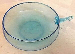 Vintage-Mid-Century-Modern-6-034-Teal-Blue-Glass-Retro-Bowl-with-Handle