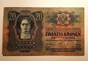 20-Husz-Kronen-Austria-Hungary-banknote-1913-Ultra-Rare-2-stamps-stamp-numbered