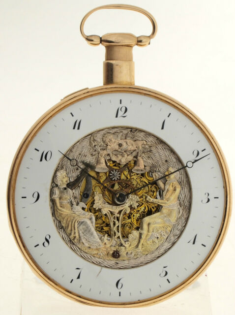 FIGURENAUTOMAT MIT VIERTELREPETITION - TEILSKELLETIERTE TASCHENUHR IN 18ct GOLD