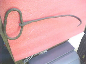 F1-vintage-farm-tool-agriculture-bale-hook-rusty-cast-iron-15-034-L-great-collector