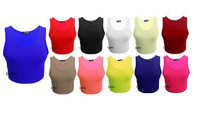 Womens-Racer-Back-Crop-Top-Ladies-Sleeveless-Stretch-Vest-T-Shirt-Tee-8-14