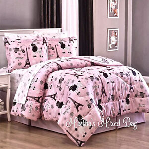 PARIS Chic EIFFEL TOWER French Poodle Teen Girls Pink Comforter Bed Set+Sheets  | EBay