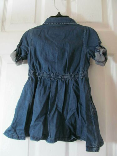 NWT GIRLS JOE FRESH PEARL SNAP DOWN DENIM DRESS LONG TO 3//4 SLEEVES Dark Wash