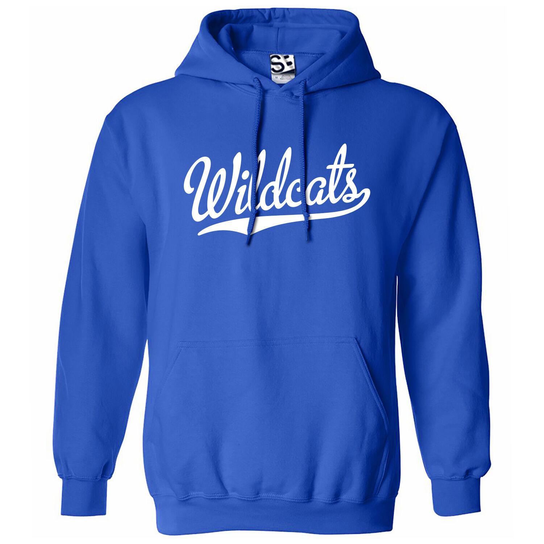 Wildcats Script & Tail HOODIE - Hooded School Sports Team Sweatshirt  All Farbes