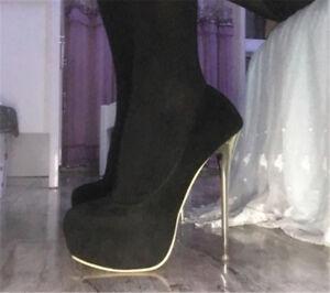 Women-Men-039-s-Black-High-Platform-Heels-Crossdresser-Drag-Queen-Stiletto-Big-Shoes