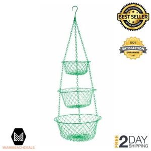 Hanging Wire Baskets For Storage | Three Tier Hanging Wire Baskets Green Fruits Vegetable Storage Plant
