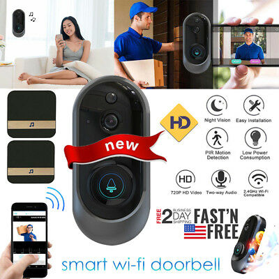 Smart Wireless WiFi Doorbell HD Video Ring Phone IR Visual ...