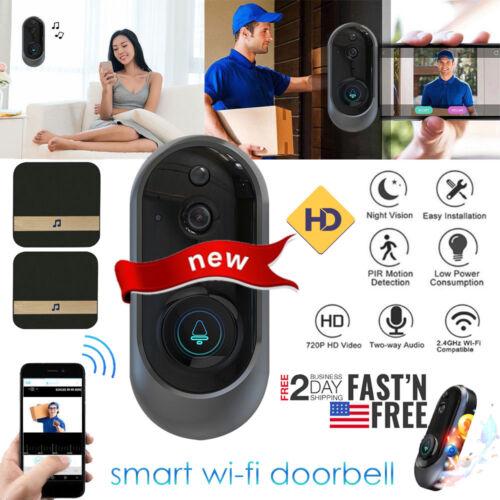 Smart Wireless WiFi Doorbell HD Video Ring Phone IR Visual Intercom+Ding Dong US