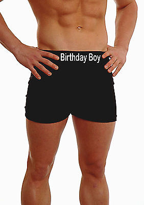 PERSONALISED MENS BOXERS SHORTS UNDERWEAR BIRTHDAY BOY WAIST BAND MESSAGE GIFT