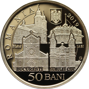 ROMANIA 50 bani 2019 coin Rumänien PROOF Apostolic journey POPE Francis