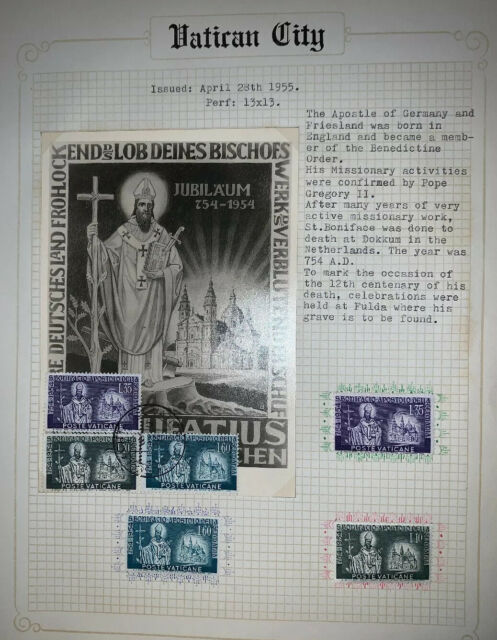 VATICAN CITY 1955  DYING OF SAN BONIFACIO 3 VALUES NEW MNH MF40857