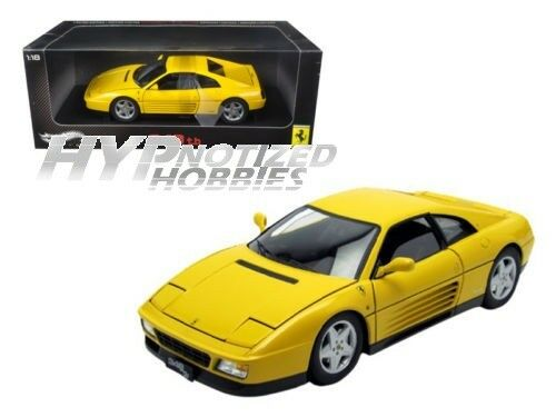 Hot Wheels 1 18 Elite 1989 Ferrari 348 Tb Moulé Jaune V7437