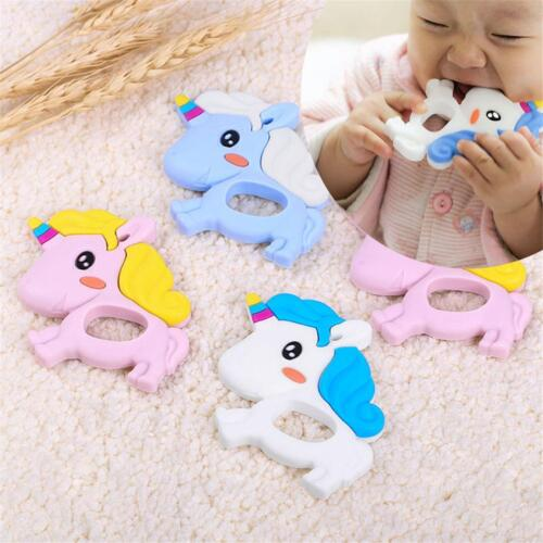 Silicone Unicorn Baby Teether Toddler Teething Ring Chewable Soother Chew Toy HD