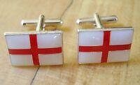 One Pair England St George Cross Enamelled Sterling Silver Cufflinks