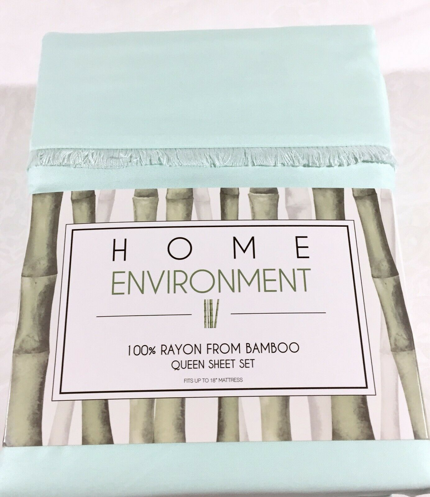 100% Silky Bamboo Twill Queen Sheet Set Home Environment Solid verde-blu Mint