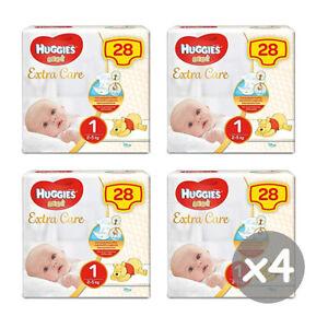 112 PANNOLINI NEW BORN HUGGIES EXTRA CARE 4 PACCHI DA 28 PZ NEONATO TG.1 (2-5Kg)