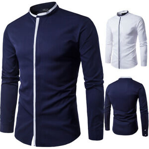 NEW-Men-039-s-Stylish-Casual-Dress-Shirt-Long-Sleeve-Formal-Tops-Slim-Fit-T-Shirts