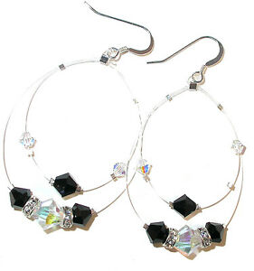 Floating-CLEAR-AB-amp-JET-BLACK-Crystal-Earrings-Sterling-Silver-Swarovski-Element