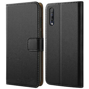 Case-for-Samsung-Galaxy-A50-A40-Genuine-LEATHER-Magnetic-Flip-BLACK-Wallet-Cover