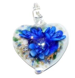 P1150-Blue-Flower-amp-Bronze-Sparkle-42mm-White-Heart-Lampworked-Glass-Pendant