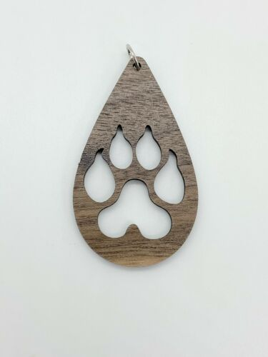Leopard Print Tear Drop Pendant//Charm//Jewelry Laser Cut Walnut