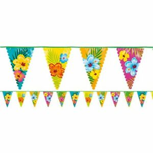 6M-HIBISCUS-BUNTING-PENNANT-HAWAIIAN-TROPICAL-LUAU-POOL-PARTY-DECORATION-BANNER