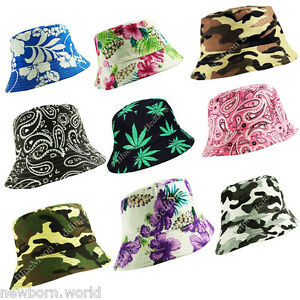 100% Cotton Adults Bucket Hats-Summer Fisher Beach Festival Sun Men ... 2fb38f5015a4