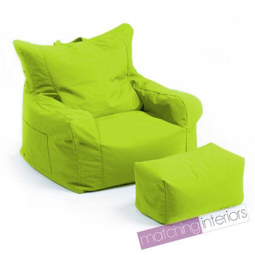 Lime Budget Bean Bag Chair + Foot Stool Gamer Armchair Garden Beanbag Seating