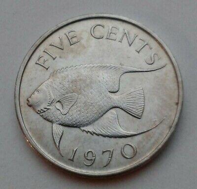 Queen Elizabeth II Bermuda 1970-5 Cents Copper-Nickel Coin Tropical Fish