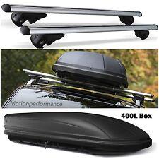 Alluminio Bloccabile auto tetto RACK RAIL BARRE & 400L BOX PER FIAT PANDA CROSS 2014 >