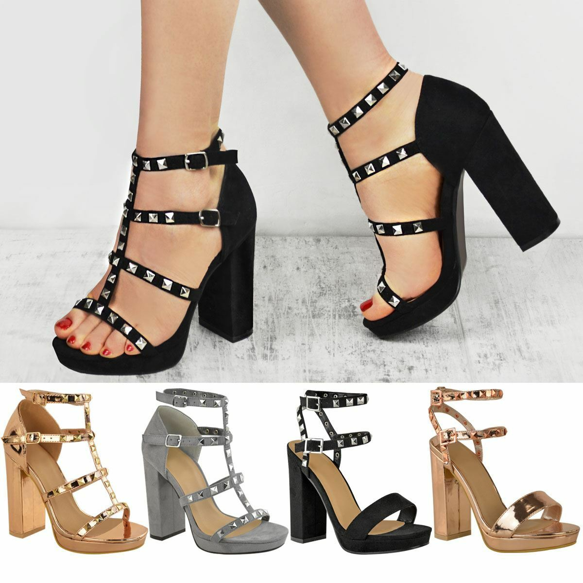 Womens Ladies Stud Block High Heels Sandals Rose Gold Summer Strappy Shoes Size