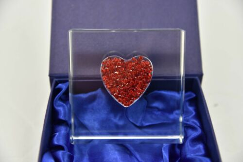 Personalised Engraved Wedding Ruby Anniversary Gift Diamante Heart Glass Block