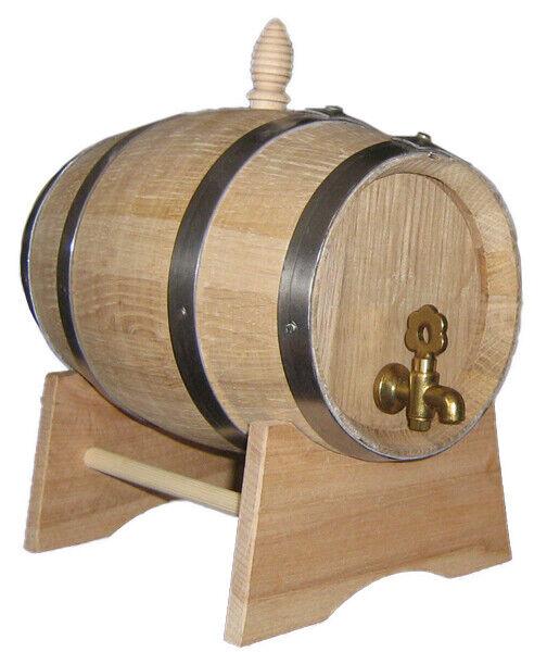 2 L Oak Cask Barrel Whisky Wine Wooden Spirit Barrels Brass Tap