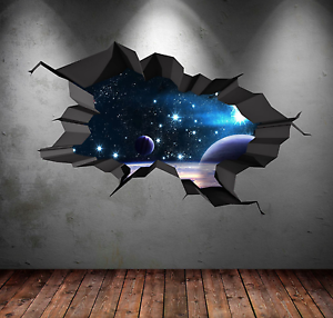 3d Multi Color Cracked Space Stars Galaxy Wall Art Stickers Decal Mural Wsd75 Ebay