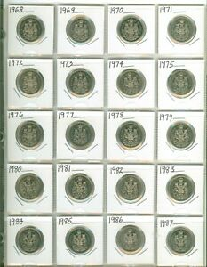 NICE-Set-of-20-Canada-Fifty-Cent-Half-Dollars-1968-to-1987