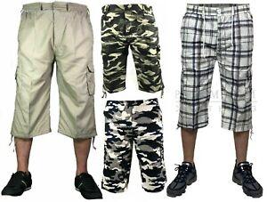 Mens Long Length Elasticated Shorts Waist Cargo Combat Three Quarter Pants UK