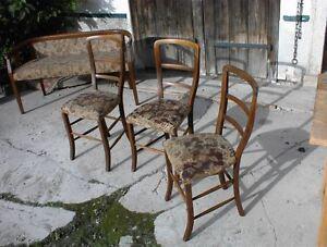 3 ausgefallene Jugendstil Stühle, um 1900,