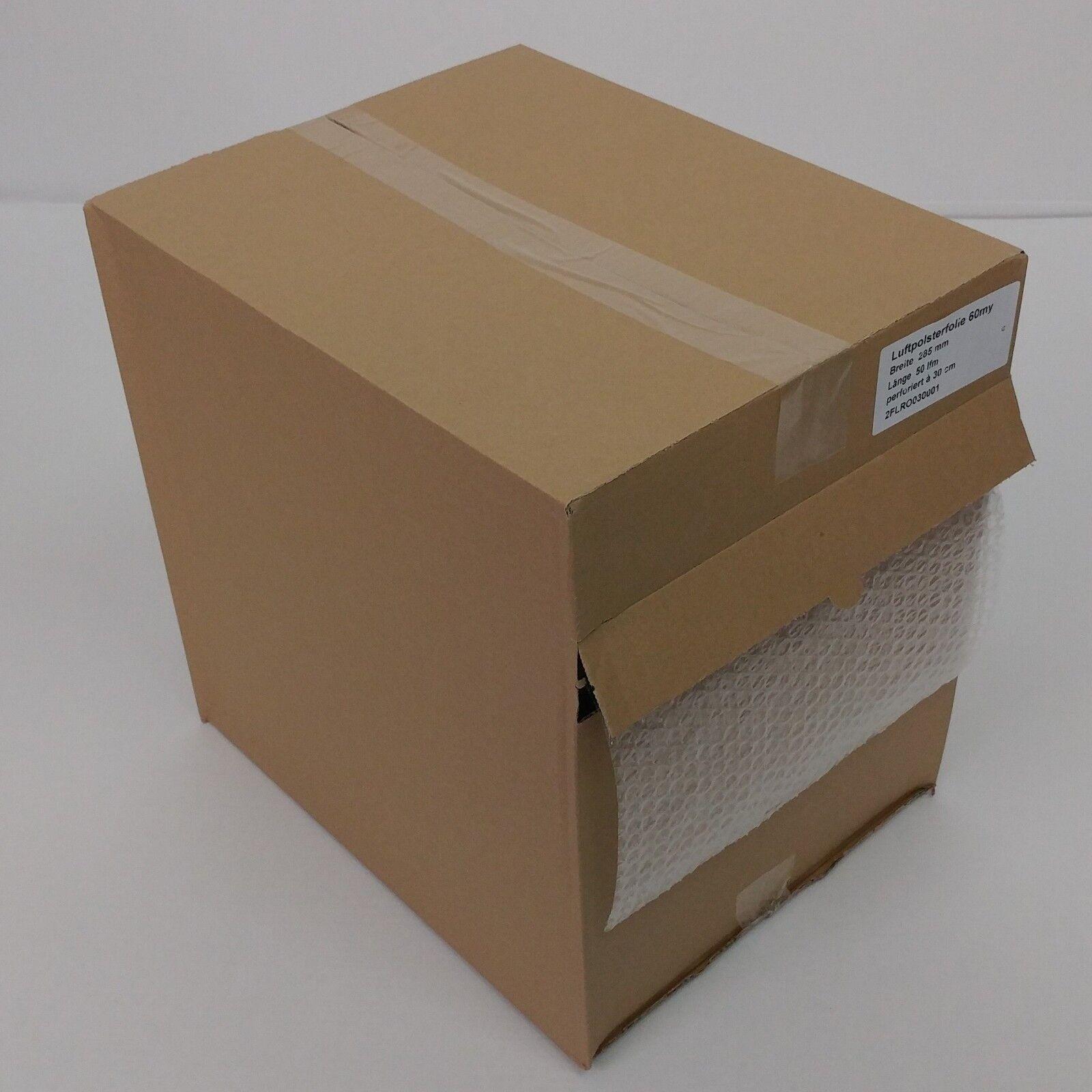 3 Rollen Luftpolsterfolie perforiert 28,5cm breit x 50m 60my im Spenderkarton