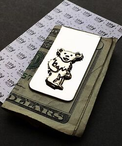 Grateful Dead - Dancing Bear Money Clip in Nickle Silver & Yellow Brass