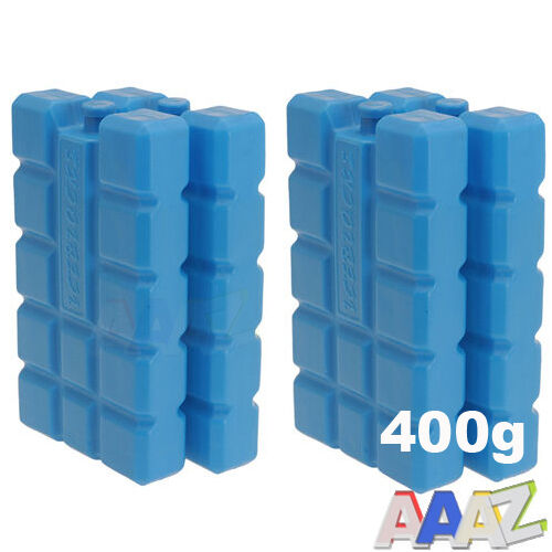 4 PACK Travel Cool Box Bag Ice Freezer Blocks Packs Blue 400g