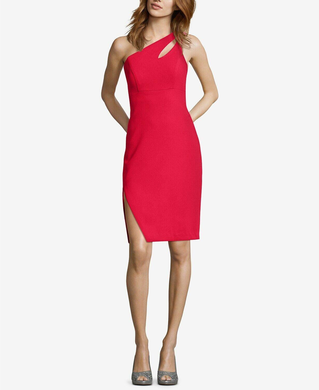 XSCAPE One-Shoulder Cutout Dress rot Größe 6