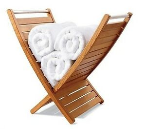 Image Is Loading A Grade Teak Towel Holder Rack Bathroom Spa