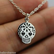 SUGAR SKULL CHARM NECKLACE - 925 Sterling Silver *NEW* Day of the Dead Halloween