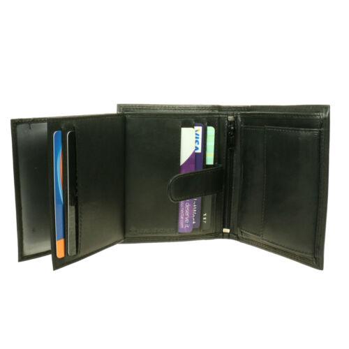 NERO Trifold Slim sottile multi scomparto porta carte di credito in pelle a portafoglio 6028