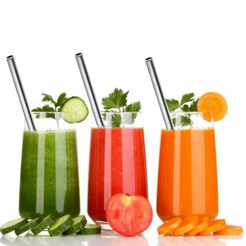 12MM WIDE STAINLESS STEEL SMOOTHIE COCKTAIL REUSABLE PARTY ECO BAR STRAWS BRUSH