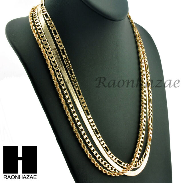 343a0ba0d528 Hip Hop 4 Chains Set Rope Cuban Herringbone   Figaro 5mm Necklace ...