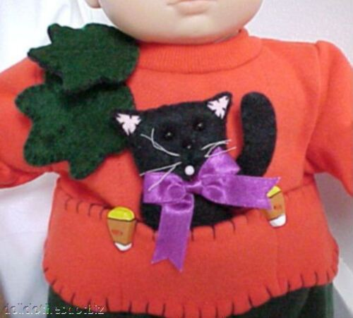 ORANGE SWEATSHIRT features Candy Corn /& Black Cat Kitty fits Bitty Baby